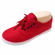 ราคา ราคาถูกที่สุด Softbox รองเท้าผ้าใบผู้หญิง รองเท้าผ้าใบเกาหลี สีแดง