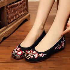 ซื้อ ลมสีแดงแห่งชาติหญิงฤดูใบไม้ผลินุ่ม Soled รองเท้าปักกิ่งรองเท้าเก่า สีดำ ถูก ฮ่องกง