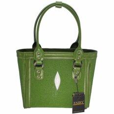 กระเป๋าถือ กระเป๋าสะพายหนังปลากระเบนแท้ พร้อมสายสะพาย รุ่น Sp 02 สี เขียว เป็นต้นฉบับ