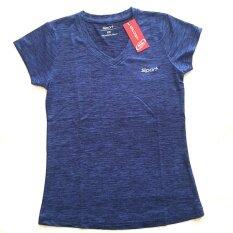 โปรโมชั่น Sports เสื้อออกกำลังกายผู้หญิง คอวี สีน้ำเงิน Model2