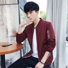ขาย Spring And Summer Fashion Men Jacket Warm Personality Male Jacket Youth Casual Coat Selling Red Intl