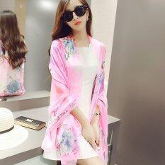 ขาย ซื้อ Spring Autumn New Joker Printed Pure Silk Scarves Long Beach Towel Oversized Women Shawl Scarf Intl ใน จีน