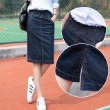 โปรโมชั่น Spring Autumn Women Elastic Waist Mid Denim Skirt Slim Fit Split Skirt High Waist Plus Size Intl จีน