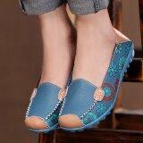 โปรโมชั่น Spring Autumn Women Genuine Leather Flats Lazy Soft Leather Shoes Women S Round Toe Flexible Sneakers Ballet Loafer Intl George Store ใหม่ล่าสุด
