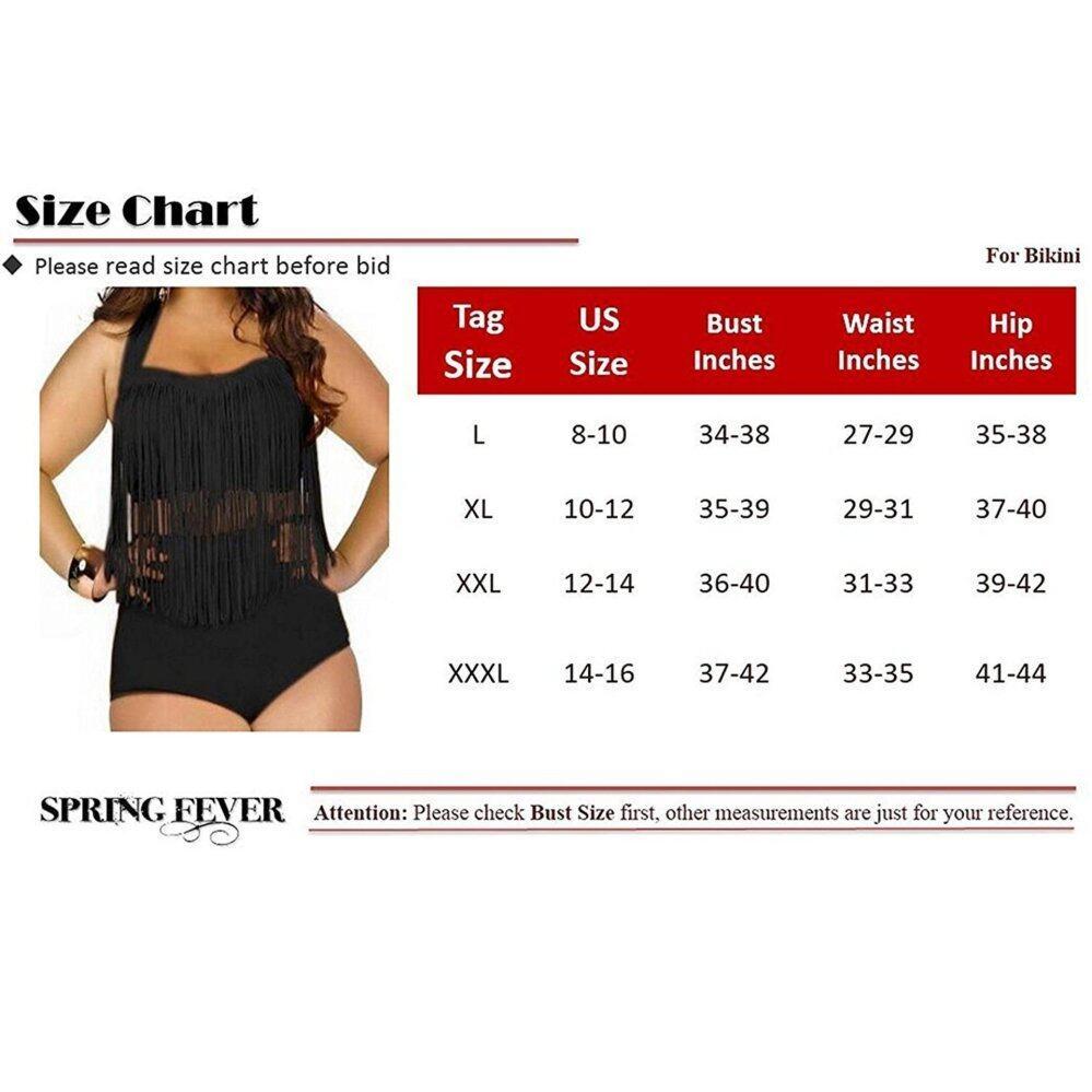 d52ca0b3589 Spring fever Women's Retro High Waist Braided Fringe Bikini Swimwear ...