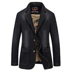 ราคา ฤดูใบไม้ผลิชายเสื้อสูทชุดลำลองสูทแจ็คเก็ตผู้ชายบางพอดีผ้ายีนส์แจ็คเก็ต สีดำ สนามบินนานาชาติ ใหม่ล่าสุด