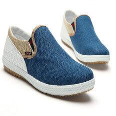 ราคา สปริงซัมเมอร์แฟชั่นสบาย ๆ ของผู้ชายขี้เกียจหายใจสีน้ำเงินรองเท้าผ้าใบช่วยแกะ D65 ที่สุด