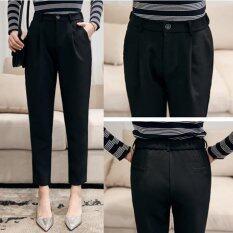 Spring Summer Women High Waist Cropped Feet Pants Loose Harem Ol Suit Pant Female Trousers Intl จีน