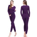 ราคา Squareladies ชุดลองจอห์น คอกลมเนื้อผ้าฮีทเท็คกันหนาว สำหรับผู้หญิง เสื้อ กางเกง No L014 สีม่วง Squareladies ใหม่