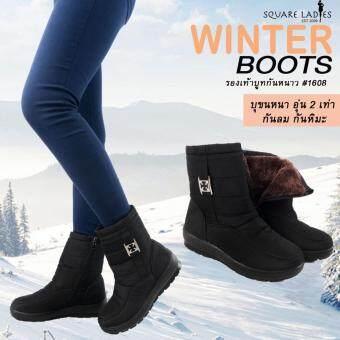 Zetelo รองเท้าบูทกันหนาว กันลม กันหิมะ แบบบุขนด้านใน อุ่นถึงติดลบ No.1608 (สีดำ)
