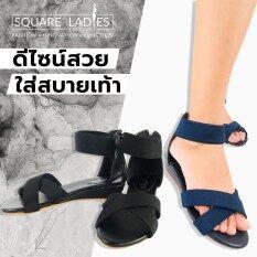 Zetelo รองเท้าแตะส้นเตารีสายไขว้ No 2918 11 สีกรมท่า ใน กรุงเทพมหานคร