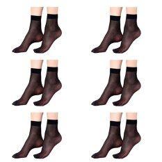ราคา Squareladies 6 คู่ ถุงเท้า ถุงน่อง แบบบางระดับข้อเท้า No 821 สีดำ ถูก