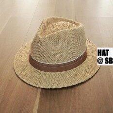 ขาย สีน้ำตาล Straw Panama Hat Size 5Cm หมวกปานามา สาน ขนาดปีก 5Cm ถูก ใน Thailand