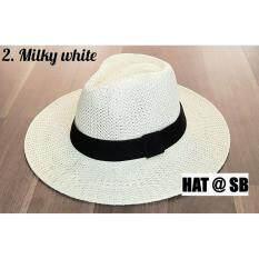 ขาย ซื้อ สีขาวครีม Straw Panama Hat Size 8Cm หมวก ปานามาสาน ขนาดปีก 8Cm