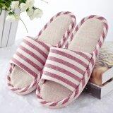 ซื้อ Striped Linen Cotton Indoor Slippers Lovers Slip Soft Bottom Home Furnishing Wood Floor Slippers Red Intl ออนไลน์ จีน