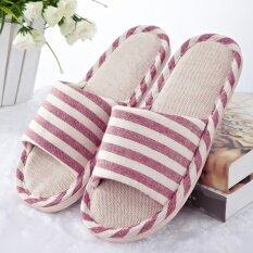 ส่วนลด สินค้า Striped Linen Cotton Indoor Slippers Lovers Slip Soft Bottom Home Furnishing Wood Floor Slippers Red Intl