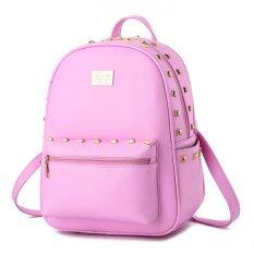 ราคา Student Fashion Backpack Pu Leather Shoulder Bag Casual Backpack For Women Pink Intl ใหม่ ถูก