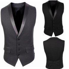 โปรโมชั่น Stylish Men Jacket Suit Vest Slim Fit Vest Casual Business Formal Vest Waistcoat ใน จีน