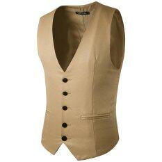 ขาย Stylish Men Jacket Suit Vest Slim Fit Vest Casual Business Formal Vest Waistcoat Khaki Intl จีน