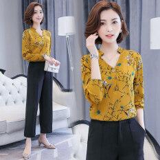 ซื้อ เสื้อเชิ้ตชั้นในของผู้หญิง ผ้าชีฟอง ลายดอกไม้ ดอกไม้สีเหลือง ดอกไม้สีเหลือง Other