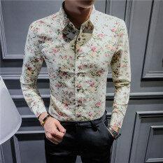 ซื้อ ลำลองชายแขนยาวฤดูใบไม้ผลิและฤดูร้อนดอกไม้เสื้อเสื้อดอกไม้ จุดใหญ่สีเบจดอกคำฝอย Unbranded Generic