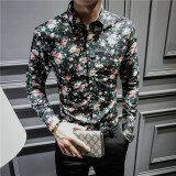 โปรโมชั่น ลำลองชายแขนยาวฤดูใบไม้ผลิและฤดูร้อนดอกไม้เสื้อเสื้อดอกไม้ สีดำขนาดใหญ่ดอกคำฝอย ถูก