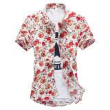 ราคา เสื้อเกาหลีเสื้อเชิ้ตสลิมดอกไม้ ดอกคำฝอย แขนสั้น Unbranded Generic ฮ่องกง