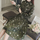 ชุดเกาหลีฤดูใบไม้ร่วงจีบกระโปรงชีฟองเพศหญิง สีเขียวเข้ม ใหม่ล่าสุด