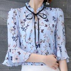 ขาย ผู้หญิงดอกไม้หญิงแขนสั้นแขนแตรแขนเสื้อชีฟองเสื้อ ท้องฟ้าสีฟ้า Unbranded Generic ผู้ค้าส่ง