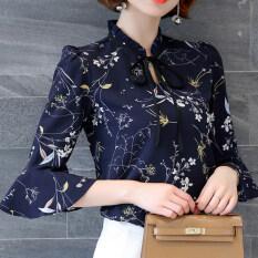 ราคา ผู้หญิงดอกไม้หญิงแขนสั้นแขนแตรแขนเสื้อชีฟองเสื้อ สีน้ำเงินเข้ม Unbranded Generic ใหม่