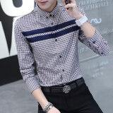 ราคา ราคาถูกที่สุด เสื้อเชิ้ตแขนยาวทรงสลิม ลายสก๊อต สไตล์หนุ่มเกาหลี น้ำเงิน น้ำเงิน