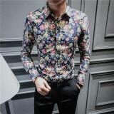 ลำลองชายแขนยาวฤดูใบไม้ผลิและฤดูร้อนดอกไม้เสื้อเสื้อดอกไม้ A02 ฮ่องกง