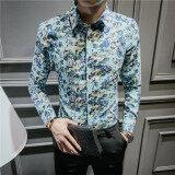 ขาย ลำลองชายแขนยาวฤดูใบไม้ผลิและฤดูร้อนดอกไม้เสื้อเสื้อดอกไม้ C05 สีฟ้า ผู้ค้าส่ง