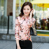 ซื้อ ดอกไม้เกาหลีชีฟองพิมพ์แขนยาวฤดูใบไม้ผลิเสื้อนางสาวเสื้อ Fh329 สีชมพู Fh329 สีชมพู