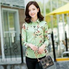 ขาย ซื้อ ดอกไม้เกาหลีชีฟองพิมพ์แขนยาวฤดูใบไม้ผลิเสื้อนางสาวเสื้อ Fh329 Cyan Fh329 Cyan