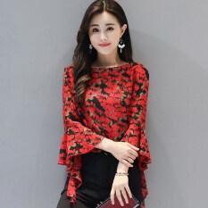 ขาย เสื้อชีฟองหญิง ลายดอก สไตล์เกาหลี สีแดงพิมพ์ สีแดงพิมพ์