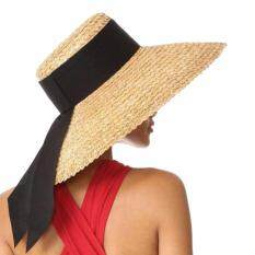 ราคา หมวกปีก หมวกสานปีกกว้าง หมวกสาน Summer Beach Hat Sun Hat Floppy Wide Brimmed Hat Fashion 2018 ใหม่ ถูก