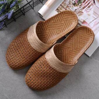 ฤดูร้อนสบายรองเท้าแตะผ้าลินินบ้าน (4 #) - INTL