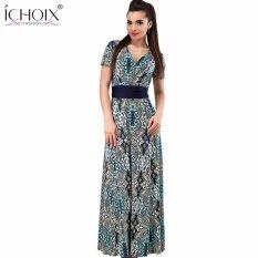 ซื้อ Summer Fashionable Women 2Xl Plus Size Sashes Print Long Dress Elegant Vintage V Neck Floor Length Maxi Dresses Clothing Intl Cocoepps ถูก