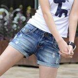 ราคา ฤดูร้อน Han รุ่นปลูกฝังศีลธรรมของคุณแสดงบางกางเกงยีนส์สตรีกางเกงยีนส์กางเกงขาสั้น สีฟ้า นานาชาติ จีน