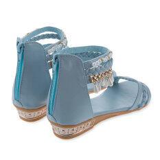 ราคา รองเท้าแตะส้นสุภาพสตรีโบฮีเมียร้อนสู้สานขุดลูกปัด ฟ้าอ่อน ออนไลน์