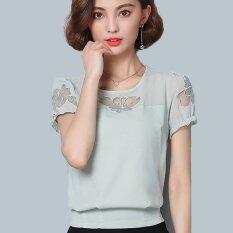 ราคา Summer Loose Lace Small Shirt Women Fashion Plus Size Hollow Out Short Sleeved Chiffon Blouses Shirts Intl Unbranded Generic ออนไลน์