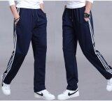 Summer Men S Sweatpants Straight Trousers Cotton Elastic Waist Sports Pants Plain Thin Fitness Plus Size Blue Intl สมุทรปราการ