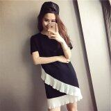 ราคา Summer Round Neck Short Sleeves Woman Stiching Dress Intl ใหม่ล่าสุด