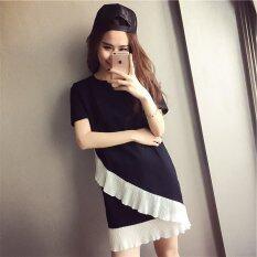 ขาย Summer Round Neck Short Sleeves Woman Stiching Dress Intl ออนไลน์ ใน จีน