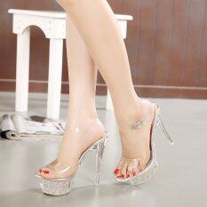 ซื้อ Summer Sandals Waterproof Crystal Thin High Heeled Shoes Nightclub Ladies Girls Sandals Unbranded Generic ถูก