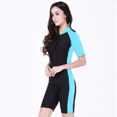 โปรโมชั่น Summer Short Sleeve Swimwear One Piece Swimsuit For Women Light Blue ‰ ใน จีน