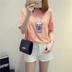 ขาย Summer Short Sleeve Women Coke Smile Face Stripe Orange T Shirt Intl Unbranded Generic ใน จีน