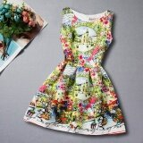 Summer Sleeveless Print G*rl Princess Dress Intl เป็นต้นฉบับ