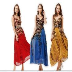 Summer Women Casual Leopard Print Maxi Dress With Belt Intl ใหม่ล่าสุด